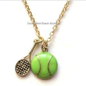 Gold Tennis Ball Sport Necklace Racquet Mom